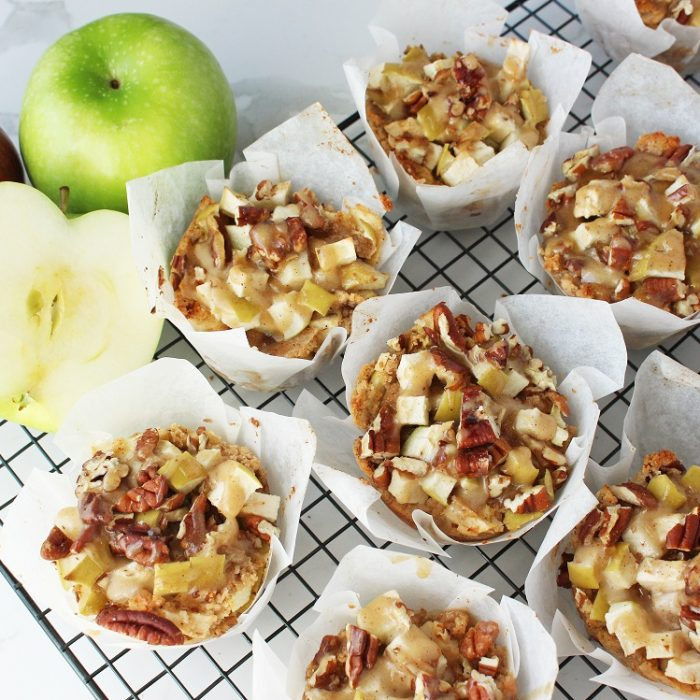 Apple, Pecan and Date Muffins with a Caramel Sauce