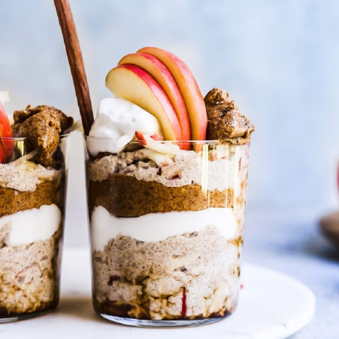 Apple Pie Chia Pudding with Roast Almond Butter