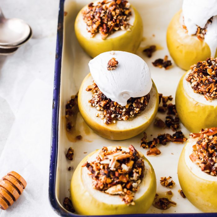Stuffed Baked Apples With Pecans, Dates And Ice-Cream
