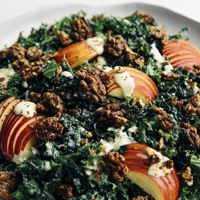 Apple, Spiced Walnut & Kale Salad with Creamy Garlic Dressing